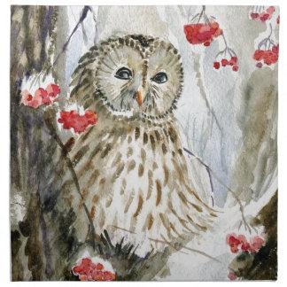 Pintura de la acuarela del búho barrado servilleta imprimida