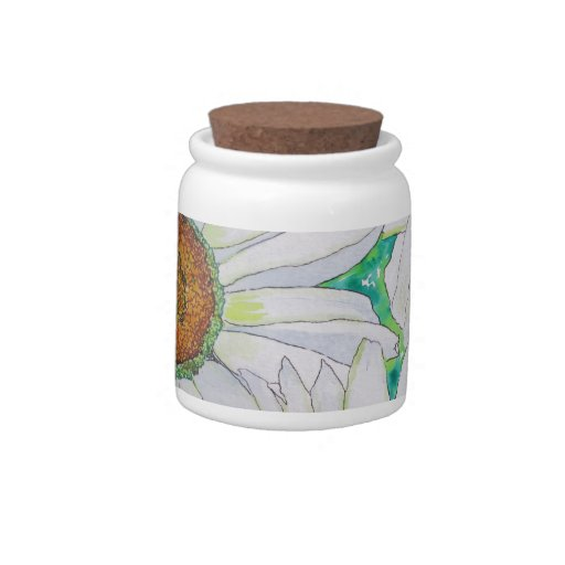 Pintura de la acuarela del campo de la margarita jarras para caramelos