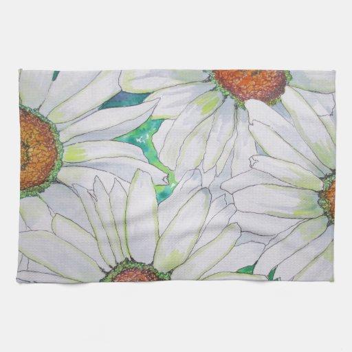 Pintura de la acuarela del campo de la margarita toalla de mano