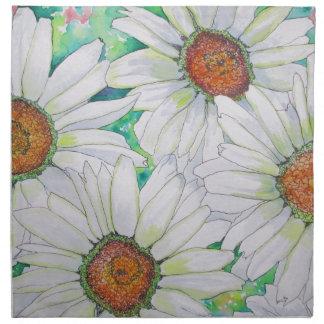 Pintura de la acuarela del campo de la margarita servilletas imprimidas