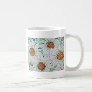 Pintura de la acuarela del campo de la margarita tazas de café