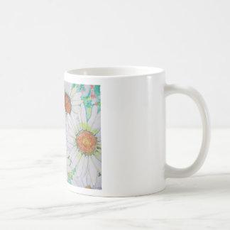 Pintura de la acuarela del campo de la margarita taza de café