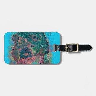 Pintura de la acuarela del chapoteo del dogo etiquetas para maletas