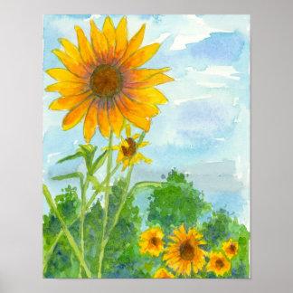 Pintura de la acuarela del cielo azul del campo póster