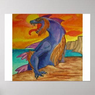"""Pintura de la acuarela """"del dragón espinoso del ma póster"""