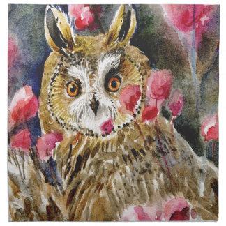 Pintura de la acuarela del flor del búho servilletas de papel