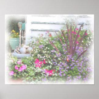 Pintura de la acuarela del jardín de flores del pa posters
