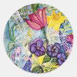 Pintura de la acuarela del jardín de la primavera pegatinas redondas
