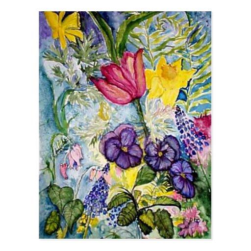 Pintura de la acuarela del jardín de la primavera tarjetas postales