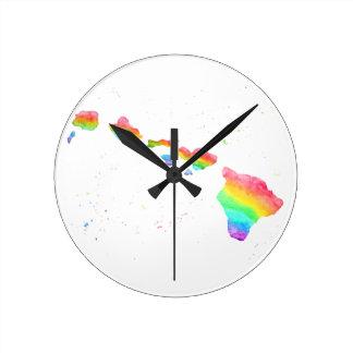 Pintura de la acuarela del mapa del arco iris de relojes