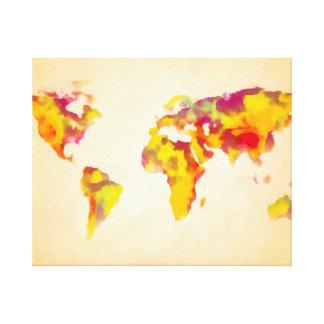 pintura de la acuarela del mapa del mundo impresiones de lienzo
