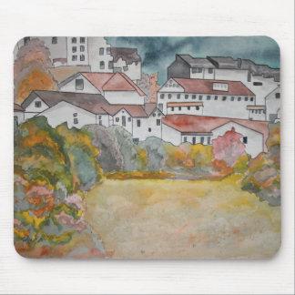 Pintura de la acuarela del paisaje de Toscana Ital Alfombrillas De Ratón