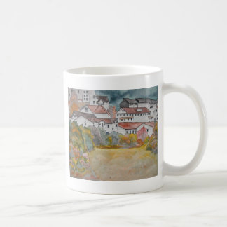 Pintura de la acuarela del paisaje de Toscana Ital Taza De Café