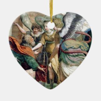 Pintura de la antigüedad del ahorro del hombre de adorno navideño de cerámica en forma de corazón