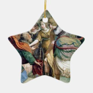 Pintura de la antigüedad del ahorro del hombre de adorno navideño de cerámica en forma de estrella