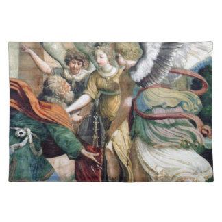 Pintura de la antigüedad del ahorro del hombre de mantel individual