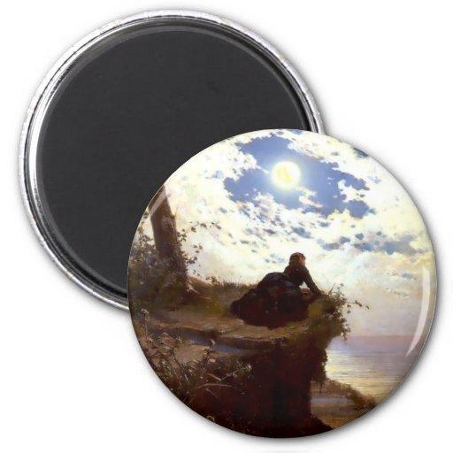 Pintura de la antigüedad del claro de luna del aca iman de nevera