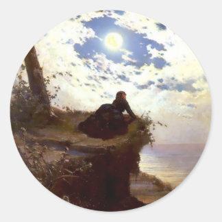Pintura de la antigüedad del claro de luna del pegatina redonda