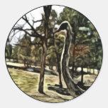 pintura de la avestruz pegatina redonda