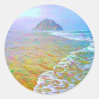 Pintura de la bahía de Morro Pegatina Redonda
