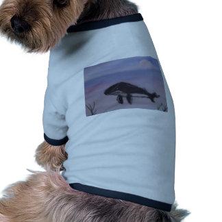 Pintura de la ballena jorobada camiseta con mangas para perro