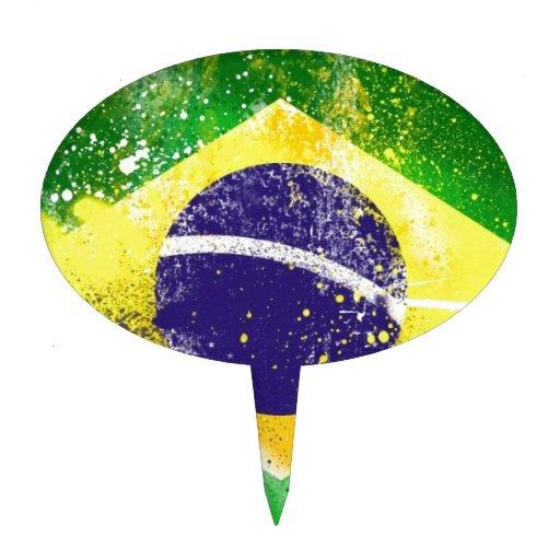 Pintura de la bandera del Brasil Decoraciones Para Tartas