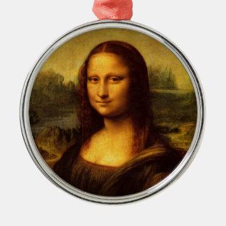 Pintura de la bella arte de Leonardo da Vinci Mona Adorno Redondo Plateado