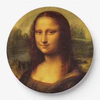 Pintura de la bella arte de Leonardo da Vinci Mona Plato De Papel De 9 Pulgadas