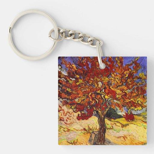 Pintura de la bella arte del árbol de mora de llavero cuadrado acrílico a doble cara