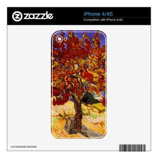Pintura de la bella arte del árbol de mora de skins para eliPhone 4