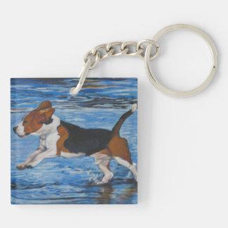 Pintura de la bella arte del beagle llavero cuadrado acrílico a doble cara