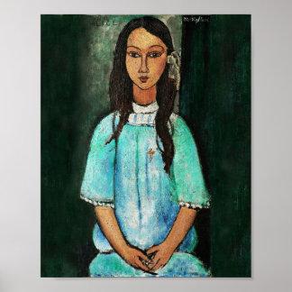 Pintura de la bella arte del vintage de Modigliani Póster