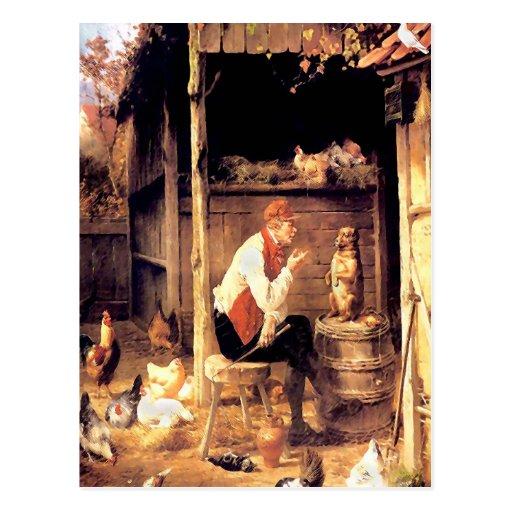 Pintura de la bella arte del vintage del entrenami tarjeta postal