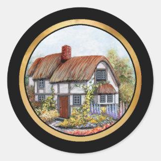 Pintura de la cabaña del país del vintage de pegatinas redondas