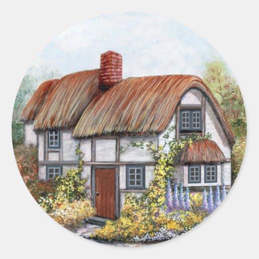 Pintura de la cabaña del país del vintage de pegatina redonda