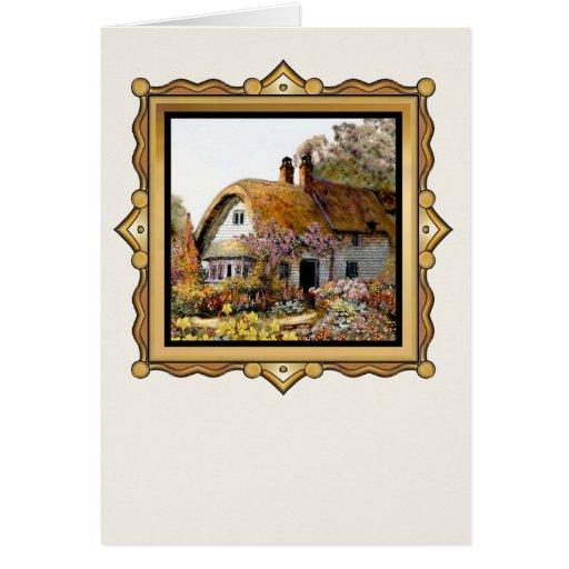 Pintura de la cabaña del país del vintage de Thach Tarjeton