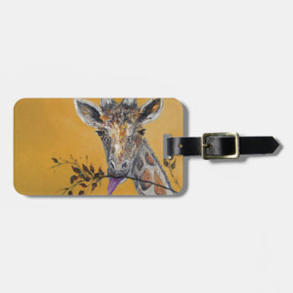 Pintura de la cara de la jirafa etiquetas para maletas