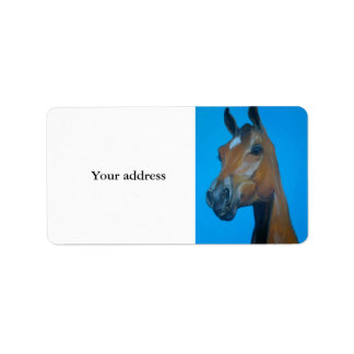 Pintura de la cara del caballo de la castaña etiqueta de dirección