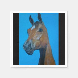 Pintura de la cara del caballo de la castaña servilleta desechable