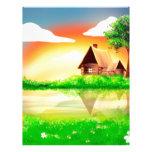 Pintura de la casa y del río membretes personalizados
