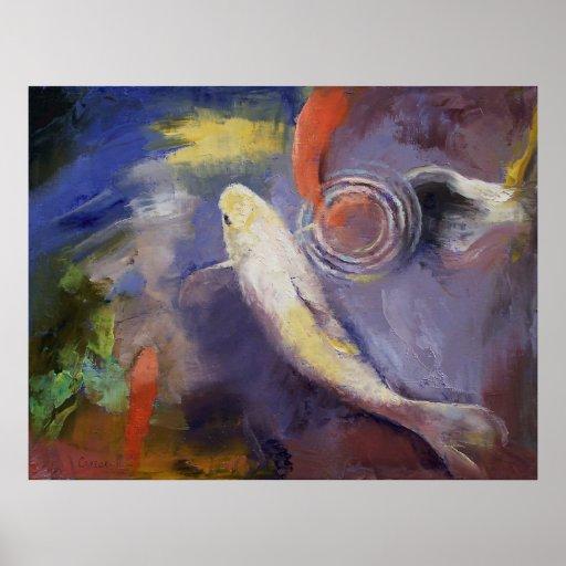 Pintura de la charca de Koi Póster
