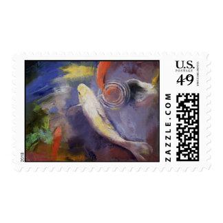 Pintura de la charca de Koi Sellos
