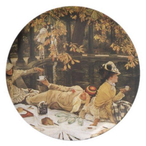 Pintura de la comida campestre de Holyday Platos