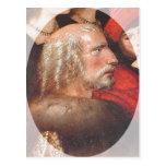 Pintura de la descripción de Cristóbal Colón. Tarjetas Postales