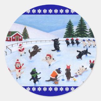 Pintura de la diversión de Labrador del navidad Pegatinas