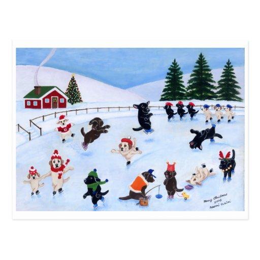 Pintura de la diversión de Labrador del navidad Tarjeta Postal
