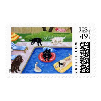 Pintura de la diversión de Labradors de la fiesta Sello