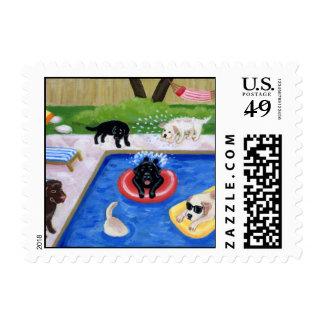 Pintura de la diversión de Labradors de la fiesta Franqueo