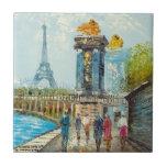 Pintura de la escena de la torre Eiffel de París Tejas