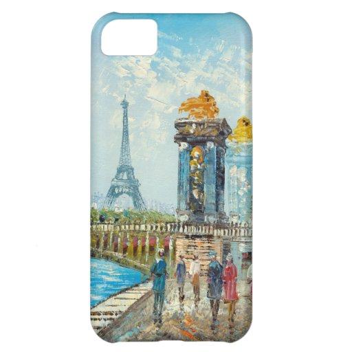 Pintura de la escena de la torre Eiffel de París Funda Para iPhone 5C